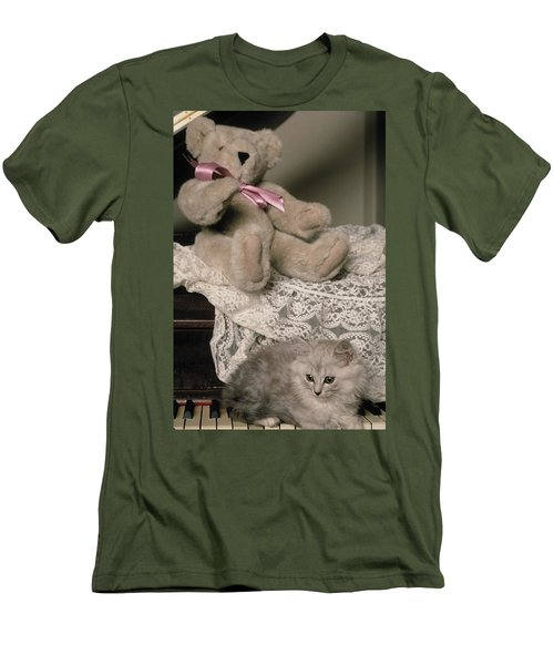 Teddy Bear And Ccat Men's T-Shirt (Athletic Fit)