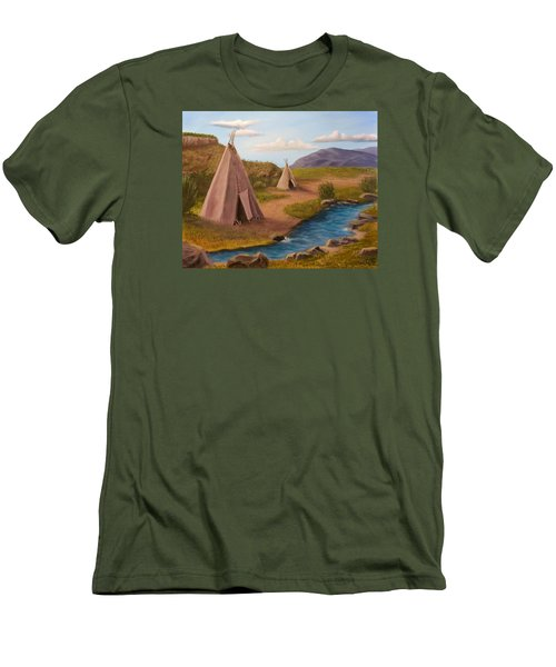 Teepees On The Plains Men's T-Shirt (Slim Fit) by Sheri Keith