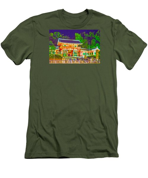 Men's T-Shirt (Slim Fit) featuring the painting Temple In Kyoto by Pravine Chester