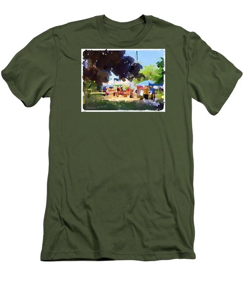 Tents And Church Steeple At Rockport Farmers Market Men's T-Shirt (Athletic Fit)