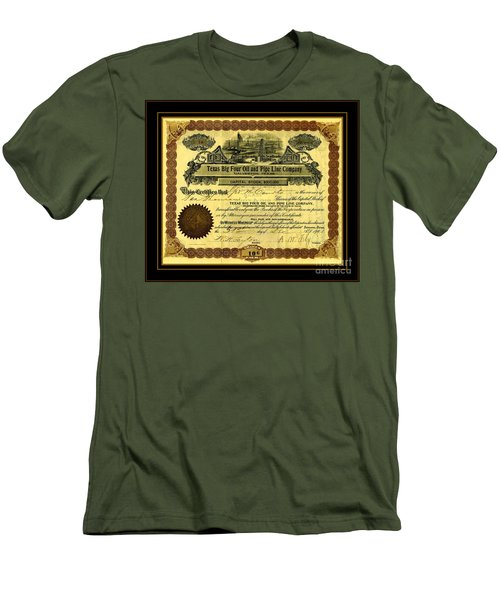 Men's T-Shirt (Athletic Fit) featuring the drawing Texas Big Four Oil And Pipeline Company Stock Certificate 1901 With Oil Field And Tanker Train Scene by Peter Gumaer Ogden