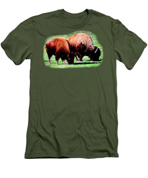 Men's T-Shirt (Slim Fit) featuring the photograph Texas Bison by Linda Phelps