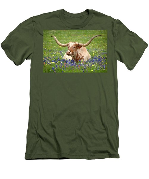 Texas Longhorn In Bluebonnets Men's T-Shirt (Athletic Fit)