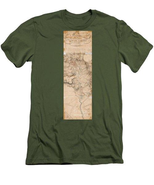 Texas Revolution Santa Anna 1835 Map For The Battle Of San Jacinto  Men's T-Shirt (Slim Fit) by Peter Gumaer Ogden Collection