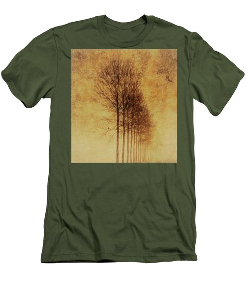 Men's T-Shirt (Slim Fit) featuring the mixed media Textured Eerie Trees by Dan Sproul
