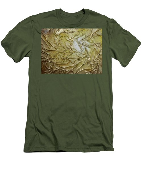 Men's T-Shirt (Slim Fit) featuring the mixed media Textured Light by Angela Stout