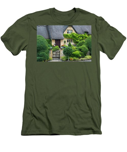Men's T-Shirt (Slim Fit) featuring the photograph Thatch Roof Cottage Home by Brian Jannsen