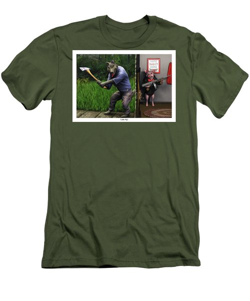 Men's T-Shirt (Slim Fit) featuring the painting That's What You Think Wolf by Dave Luebbert
