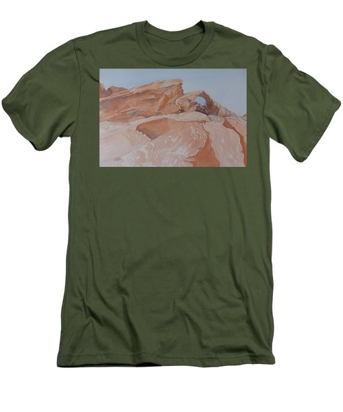 Men's T-Shirt (Athletic Fit) featuring the painting The Arch Rock Experiment - Vii by Joel Deutsch