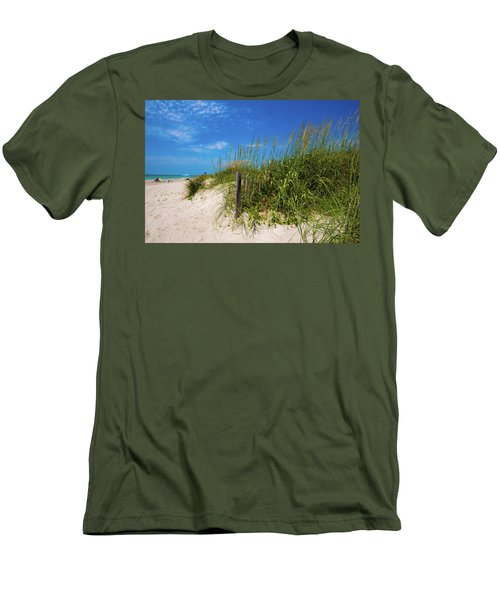 Men's T-Shirt (Slim Fit) featuring the photograph The Beach At Pine Knoll Shores by John Harding