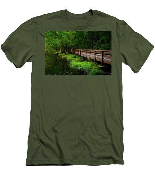 Men's T-Shirt (Slim Fit) featuring the photograph The Bridge At Wolfe Park by Karol Livote