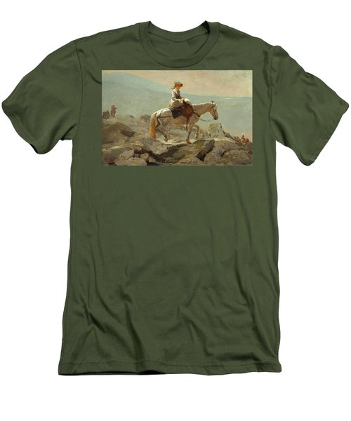 Men's T-Shirt (Slim Fit) featuring the painting The Bridle Path, White Mountains - 1868 by Winslow Homer