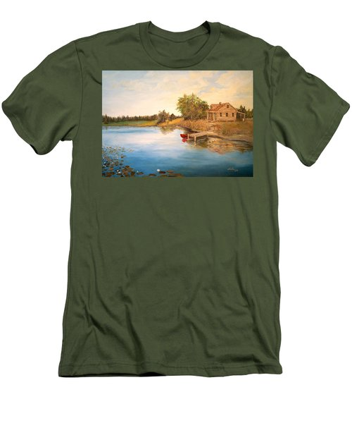 Men's T-Shirt (Slim Fit) featuring the painting The Cabin by Alan Lakin