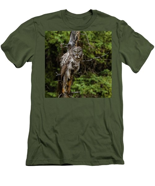 The Captivating Great Grey Owl Men's T-Shirt (Slim Fit) by Yeates Photography