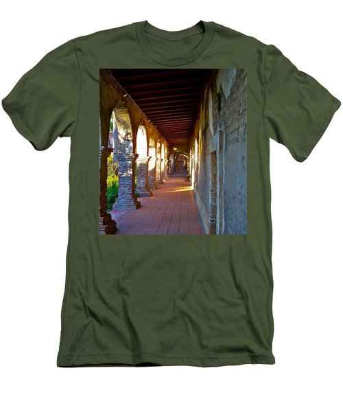 The Corridor By The Serra Chapel San Juan Capistrano Mission California Men's T-Shirt (Athletic Fit)