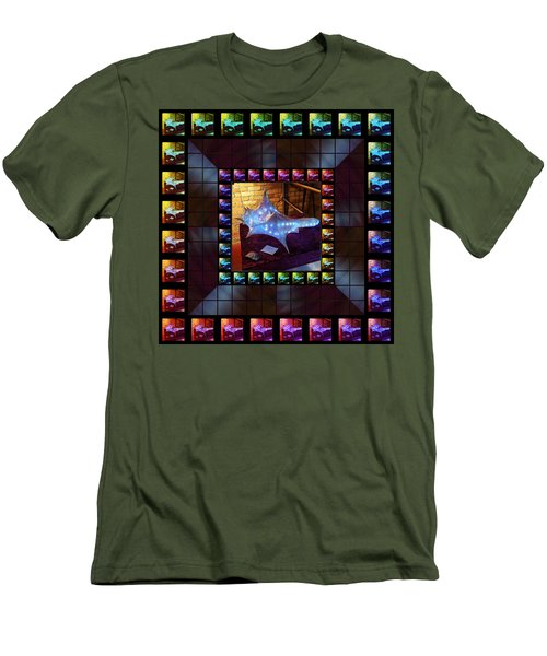 Men's T-Shirt (Athletic Fit) featuring the sculpture The Crystal Shell - Illuminated by Shawn Dall