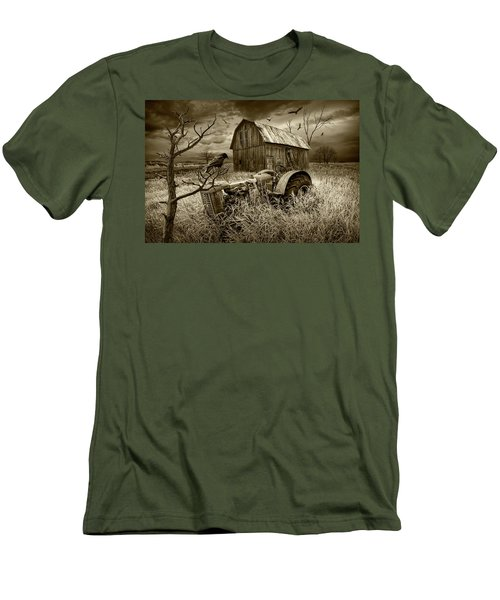 Men's T-Shirt (Slim Fit) featuring the photograph The Decline And Death Of The Small Farm In Sepia Tone by Randall Nyhof