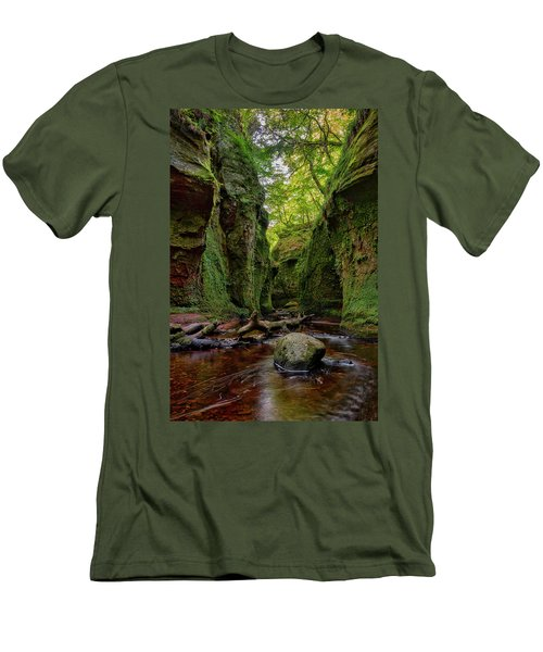 The Devil Pulpit At Finnich Glen Men's T-Shirt (Slim Fit) by Jeremy Lavender Photography