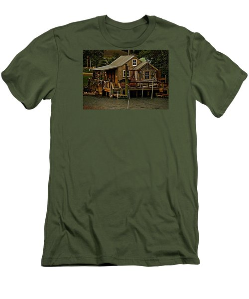 Men's T-Shirt (Slim Fit) featuring the photograph The Fishing Shack by John Harding