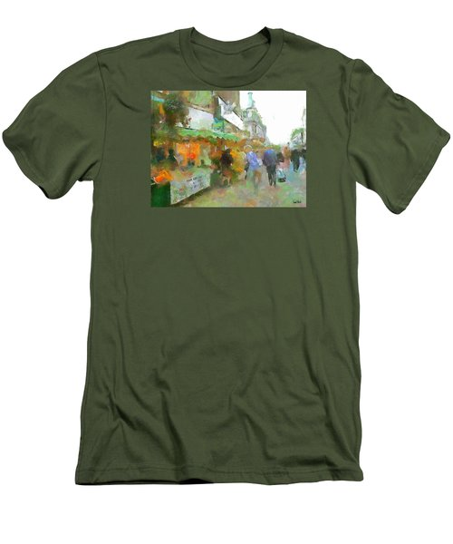 Men's T-Shirt (Slim Fit) featuring the painting The Food Fair by Wayne Pascall