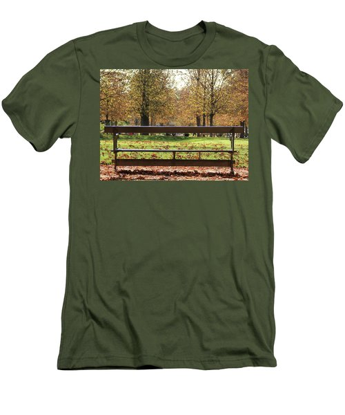 The French Bench And The Autumn Men's T-Shirt (Slim Fit) by Yoel Koskas