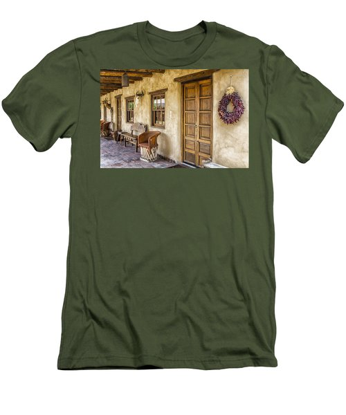 Men's T-Shirt (Slim Fit) featuring the tapestry - textile The Gage Hotel by Kathy Adams Clark