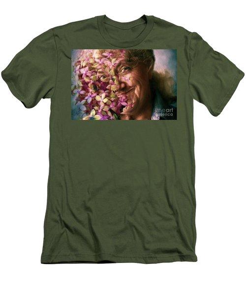 The Gardener Men's T-Shirt (Slim Fit) by Jean OKeeffe Macro Abundance Art