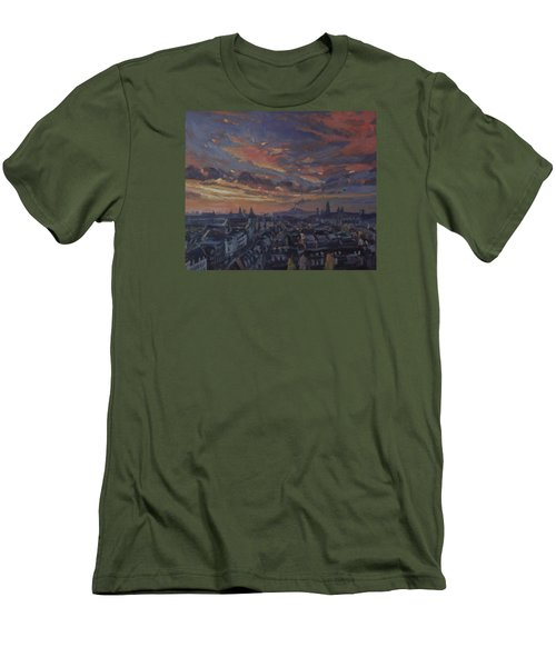 Men's T-Shirt (Slim Fit) featuring the painting The Golden Hour Maastricht by Nop Briex