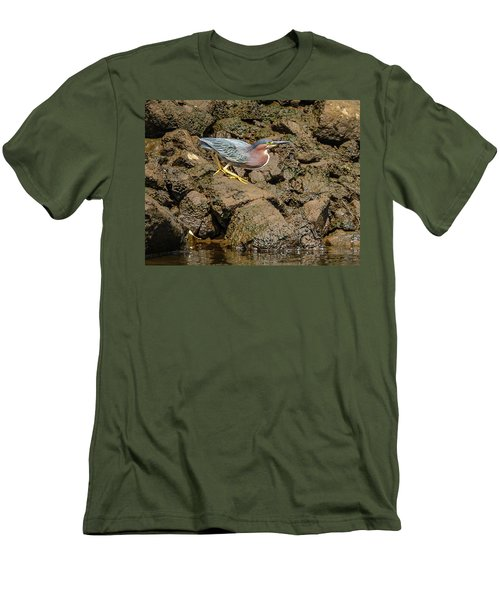 The Green Heron Men's T-Shirt (Slim Fit) by Jerry Cahill