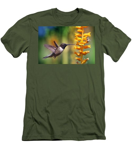 Men's T-Shirt (Slim Fit) featuring the photograph The Hummingbird And The Bee by William Lee