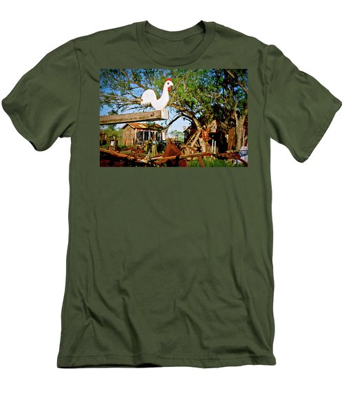 Men's T-Shirt (Slim Fit) featuring the photograph The Iron Chicken by Linda Unger