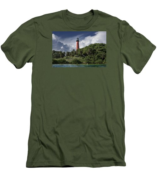 The Jupiter Inlet Lighthouse Men's T-Shirt (Slim Fit) by Laura Fasulo