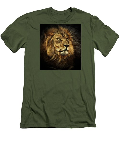 Men's T-Shirt (Slim Fit) featuring the mixed media The King by Elaine Malott