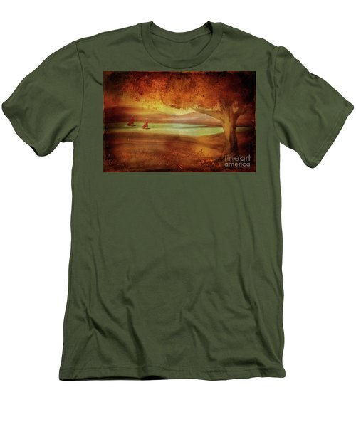 Men's T-Shirt (Athletic Fit) featuring the digital art The Last Sail Of The Season  by Lois Bryan