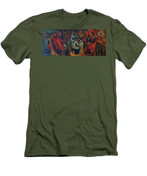 Men's T-Shirt (Slim Fit) featuring the painting The Last Supper by Christophe Ennis