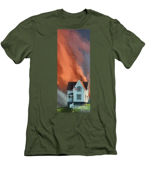 Men's T-Shirt (Athletic Fit) featuring the digital art The Lighthouse Keeper's House by Lois Bryan