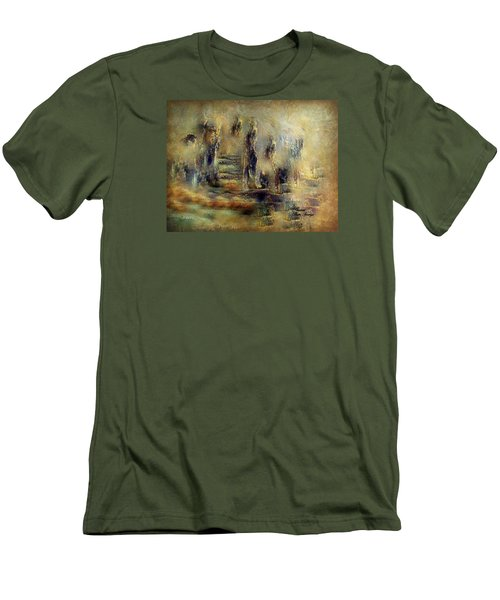 Men's T-Shirt (Slim Fit) featuring the painting The Lost City By Sherriofpalmsprings by Sherri  Of Palm Springs