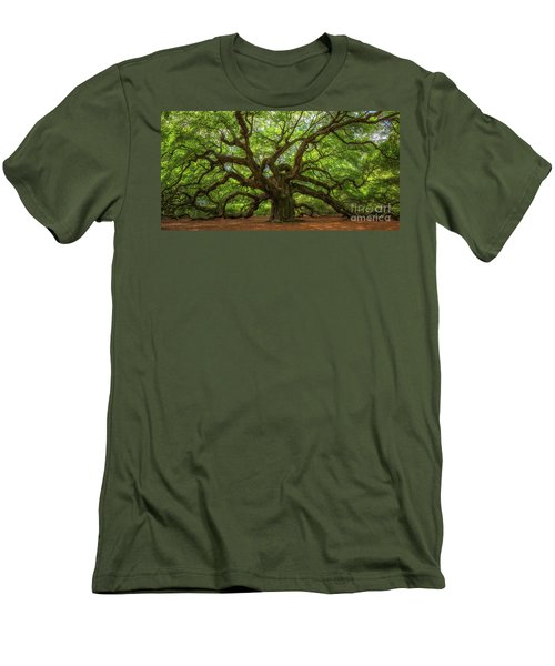 The Magical Angel Oak Tree Panorama  Men's T-Shirt (Slim Fit) by Michael Ver Sprill