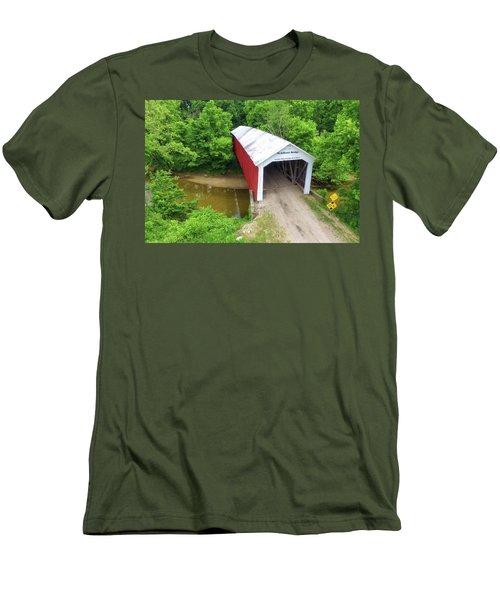 The Mcallister Covered Bridge - Ariel View Men's T-Shirt (Slim Fit) by Harold Rau