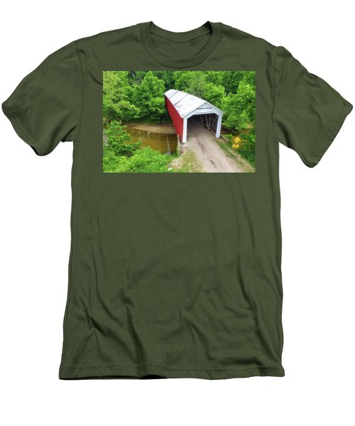 The Mcallister Covered Bridge - Ariel View Men's T-Shirt (Athletic Fit)