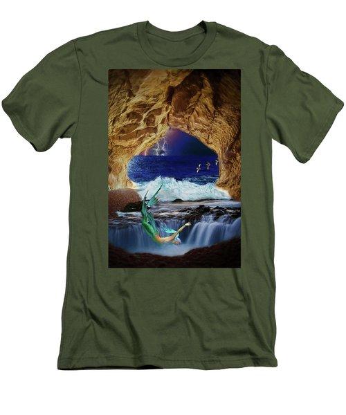 Men's T-Shirt (Athletic Fit) featuring the digital art The Mermaids Secret Lair by John Haldane