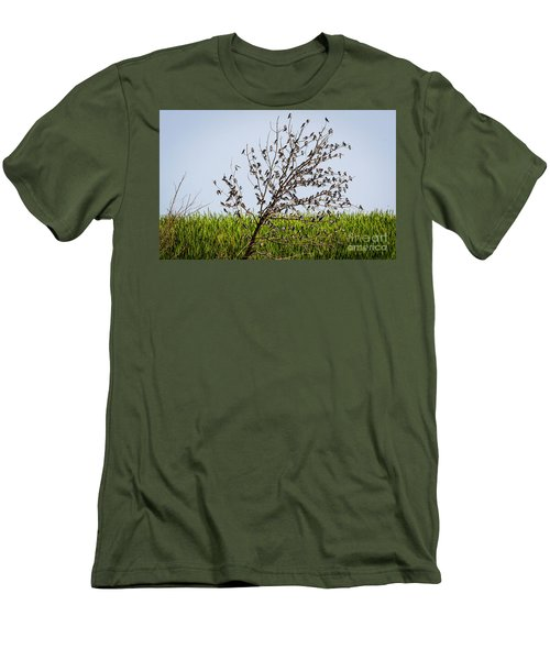 Men's T-Shirt (Athletic Fit) featuring the photograph The More The Merrier- Tree Swallows  by Ricky L Jones