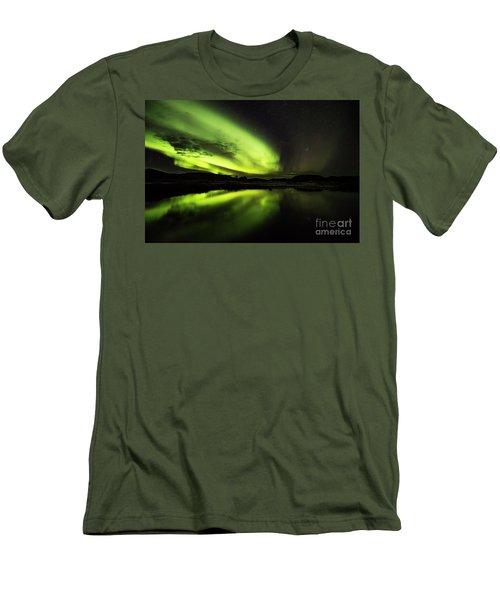 The Northern Lights Thingvellir Men's T-Shirt (Slim Fit) by Gunnar Orn Arnason