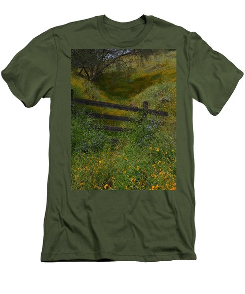 Men's T-Shirt (Slim Fit) featuring the photograph The Old Wooden Fence by Debby Pueschel