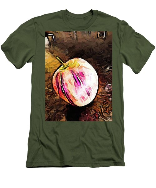 The Pale Pink Apple With The Hot Pink Stripes Men's T-Shirt (Athletic Fit)