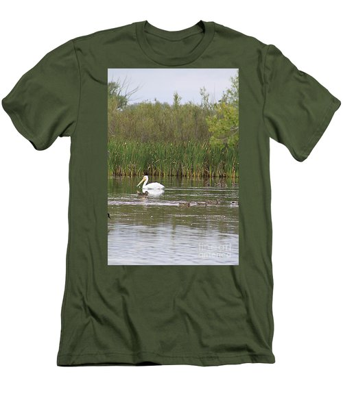 Men's T-Shirt (Slim Fit) featuring the photograph The Pelican And The Ducklings by Alyce Taylor