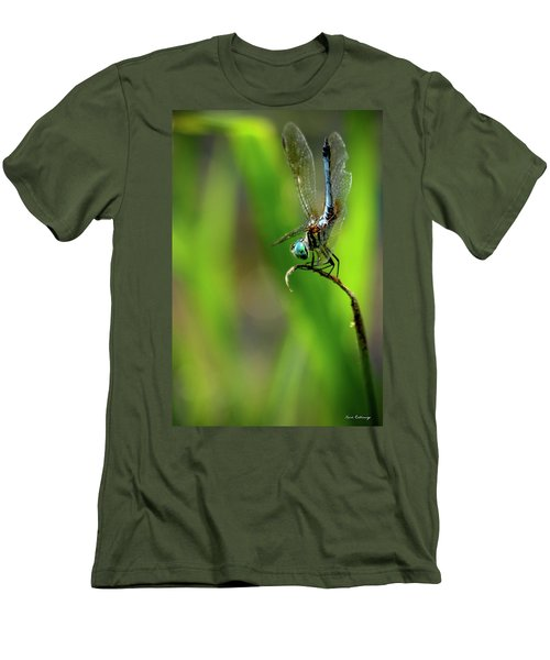 Men's T-Shirt (Slim Fit) featuring the photograph The Performer Dragonfly Art by Reid Callaway