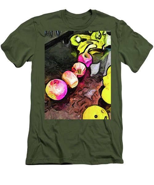 The Pink Apples In A Curve With The Yellow Lemons Men's T-Shirt (Athletic Fit)