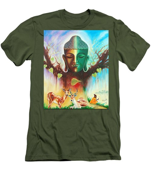 Men's T-Shirt (Slim Fit) featuring the photograph The Power Of Buddha by Ragunath Venkatraman