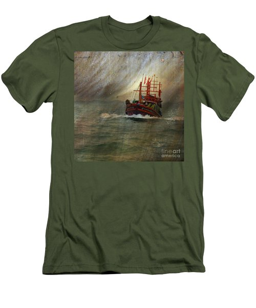 Men's T-Shirt (Slim Fit) featuring the photograph The Red Fishing Boat by LemonArt Photography